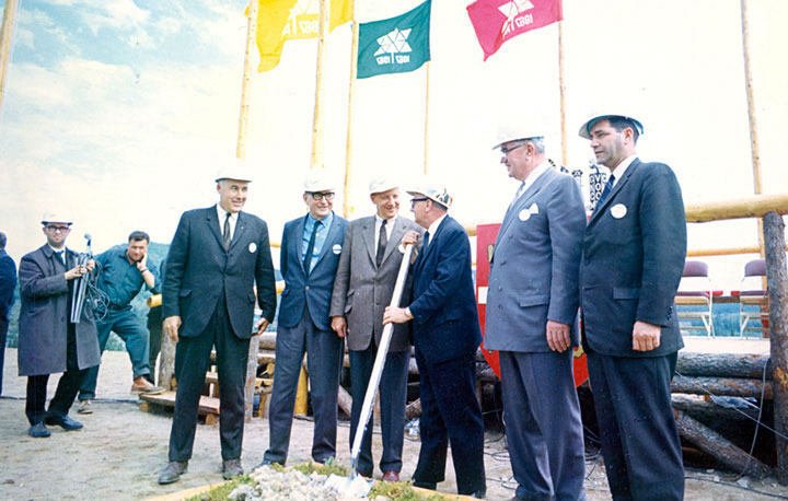Turning the first sod at the site of the British Newfoundland Corp (BRINCO) hydro project at Churchill Falls, Labrador, Newfoundland.